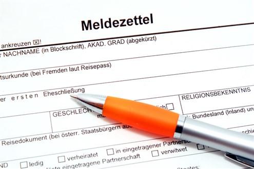 формуляр за адресна регистрация в Австрия meldezettel
