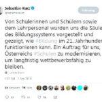 Туит на Себастиан Курц по време на посещението му в Сингапур
