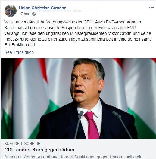 Щрахе, Орбан, европейски парламент