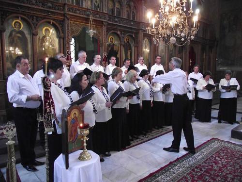 Хорът на слепите и диригентът Петър матев по време на концерт